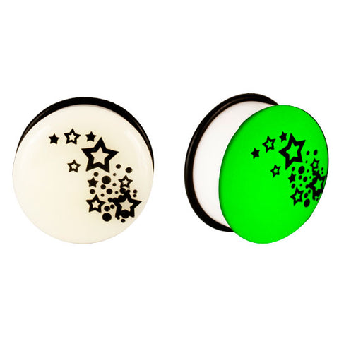 Acrylic GLOW IN THE DARK Stars #2 Single Flared Plugs Ear - Piercing Pros
