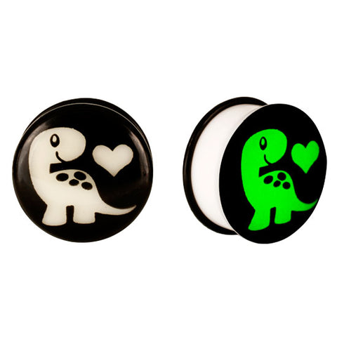 Acrylic GLOW IN THE DARK Dinosaur Love #2 Single Flared Plugs Ear Earlet Black - Piercing Pros