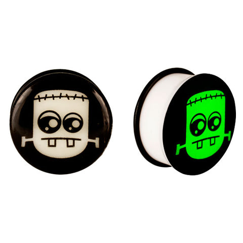 Acrylic GLOW IN THE DARK Cartoon Monster Single Flared Plugs Ear Earlet Black - Piercing Pros
