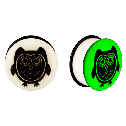 Acrylic GLOW IN THE DARK Owl Single Flared Plugs Ear Earlet Black - Piercing Pros