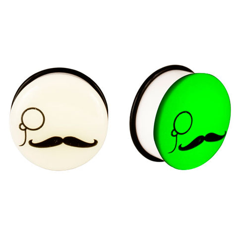 Acrylic GLOW IN THE DARK Monocle and Mustache Single Flared Plugs Ear Earlet - Piercing Pros