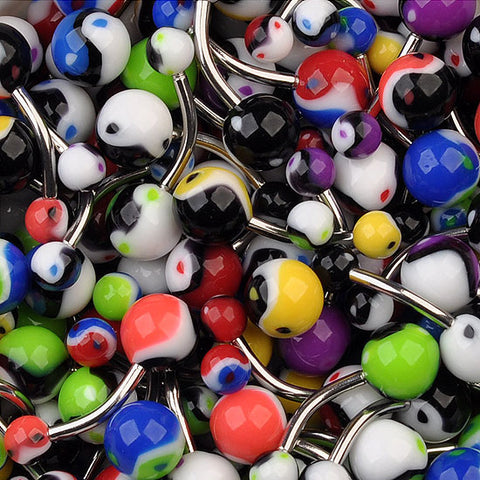 YING YANG Assorted 100 Navel Rings Mixed Belly Button MIX Piercing Body Jewelry