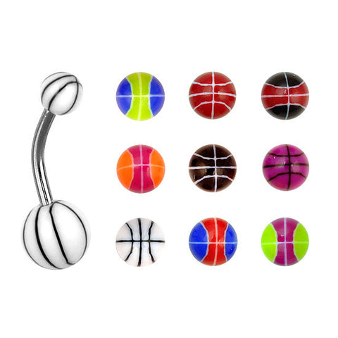 Assorted BASKETBALL 100 Navel Rings Mixed Belly Button MIX Piercing Body Jewelry