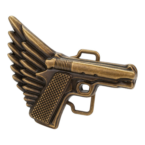 Unisex Winged Gun Flying Pistol Belt Buckle