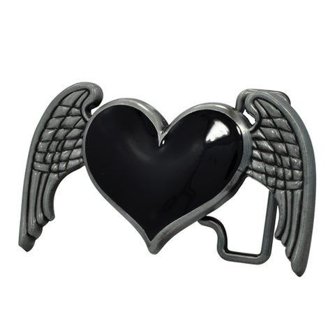 Womens Heart Wings Angel Belt Buckle Dark Brushed Metal