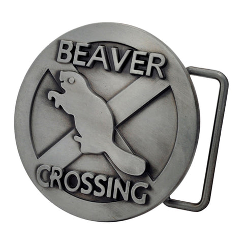 Mens Beaver Crossing Funny Humor Animal Belt Buckle