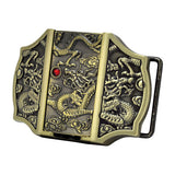 Unisex Removable Lighter Dragon Red Jeweled Belt Buckle
