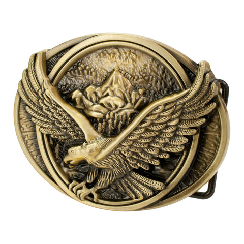 Buckle Rage Men's Flying Soaring Eagle Over Mountains Country Pride Belt Buckle - Piercing Pros