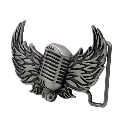 Men's Vintage Mic With Wings Musical Old Fashioned Belt Buckle Silver