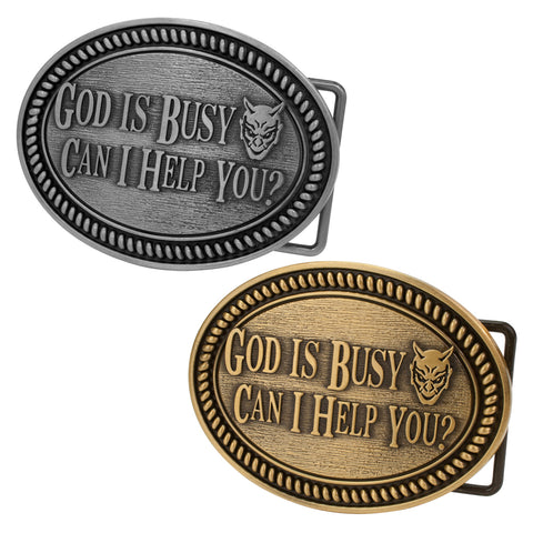 God Is Busy Can I Help You Devil Humor Snap On Belt Buckle - Piercing Pros