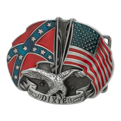"Buckle Rage ""Dixie"" Confederate Rebel and American Flag Belt Buckle Snap On Southern Pride"