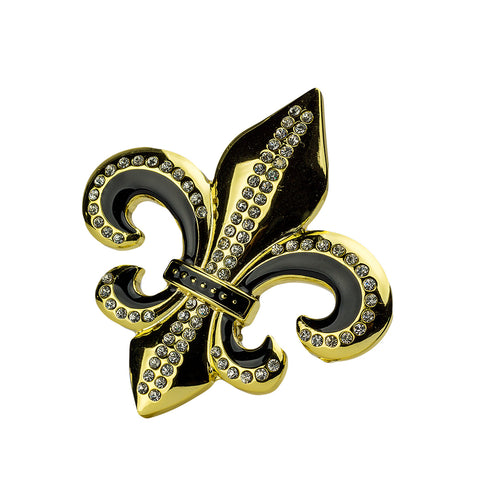 "Hot Buckles Belt Buckle Fleur de Lis with Clear Rhinestones 3.50"" L x 3.75"" H"