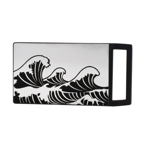 Unisex Cresting Waves Japanese Ocean Rectangle Belt Buckle