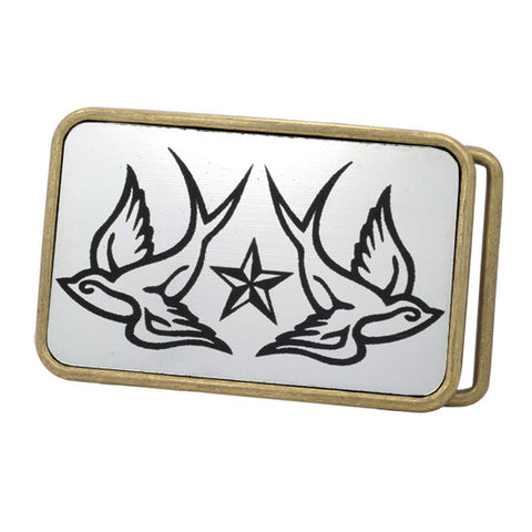 Unisex Swallows Tattoo Birds Star Rounded Frame Belt Buckle