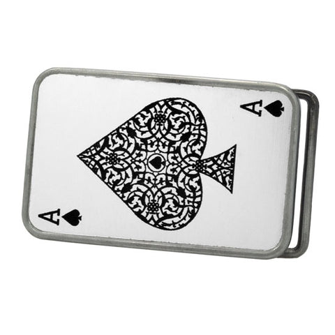 Men's Ace of Spades Card Deck Poker Playing Games Belt Buckle