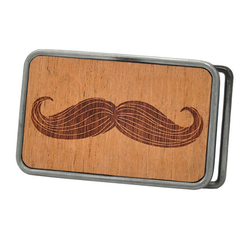 Mens Real Etched Wood Hipster Moustache Rounded Belt Buckle