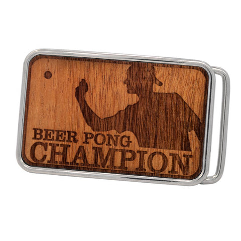 Mens Etched Real Wood Beer Pong Champion Rounded Belt Buckle