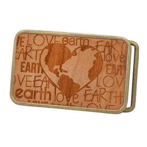 Unisex Love the Earth Heart Etched Wood Rounded Belt Buckle