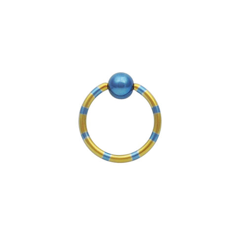 PAIR 16g 10mm Yellow and Blue Striped Anodized Titanium Captive Bead Ring CBR