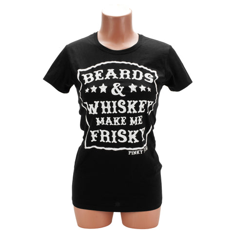 Pinky Star Beards and Whiskey Make Me Frisky Women's Crew Neck Shirt