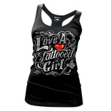 Cartel Ink LOVE A TATTOOED GIRL Women's Black Cotton T-Shirt 100% Cotton SM - XL
