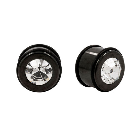 PAIR BLACK TITANIUM & Stainless Steel Clear CZ Plugs