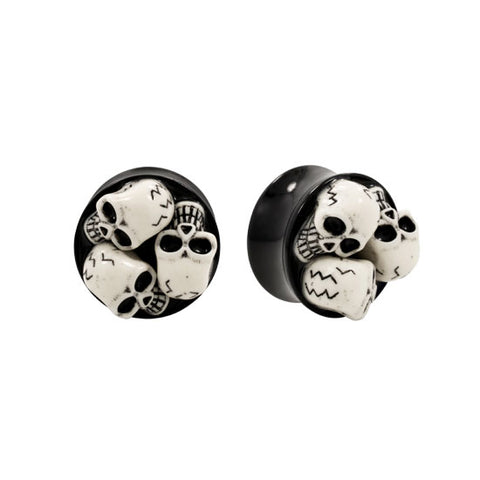 PAIR Resin 3D Skull Acrylic Double Flared Plug Saddle