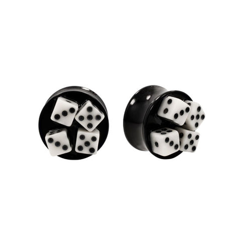 Resin Acrylic 3D Dice Double Flared Plugs Saddle PAIR