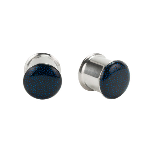 Blue Glass Bead Inlay Stainless Steel Double Flared Plugs Pair