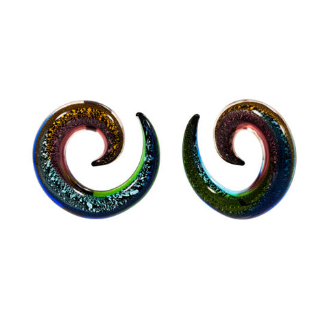 PAIR Dichro Multi Color Pyrex Glass Spiral Talon 8g-00g