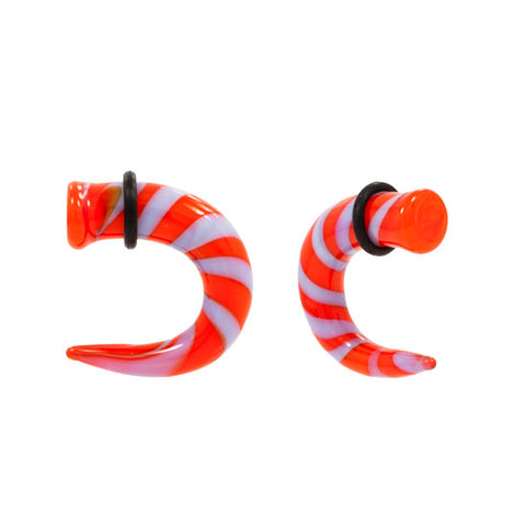 PAIR Orange & Grey Pyrex Glass Talon TAPER Claw 10g-00g