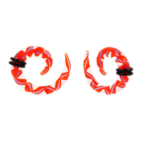 PAIR Tapered Orange Ribbon Pyrex Glass Spiral Talon NEW