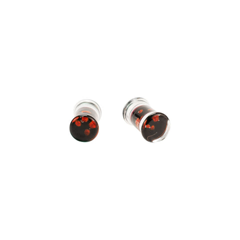 PAIR OF Black & Red Spiral Pyrex Glass Plugs Earrings Choose Gauge