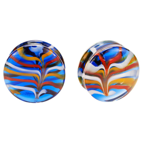 Pair Of Blue & Orange Pyrex Glass Feather Plugs Flared Choose Color