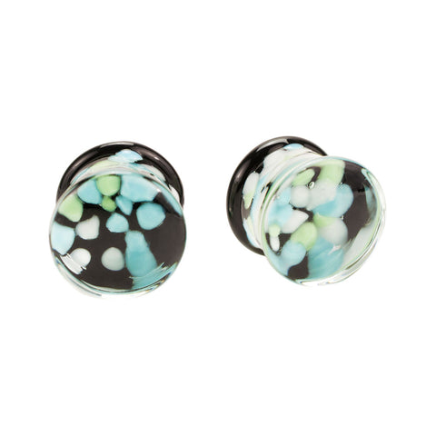 Pair of 2 Blue Green Agate Inlay Pyrex Glass Plugs