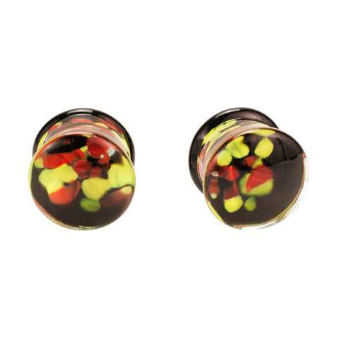 Pair Of Yellow & Red Agate Inlays Hand Crafted Quality Pyrex Glass Custom Plugs