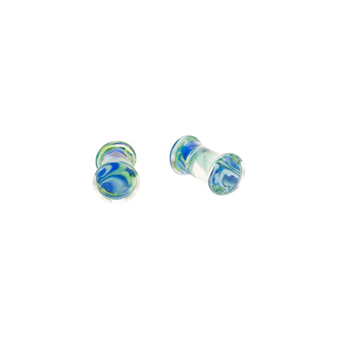 Pair Of Pyrex Glass Plugs Blue Rib Cage Design Ear Body Jewelry Choose Gauge