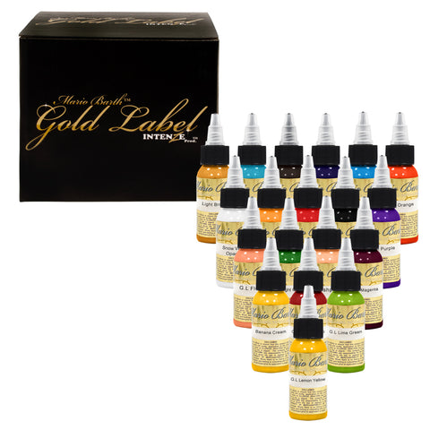 Intenze Authentic Pro Tattoo Ink Mario Barth Gold Label 19 Pc Set 1 oz Bottles