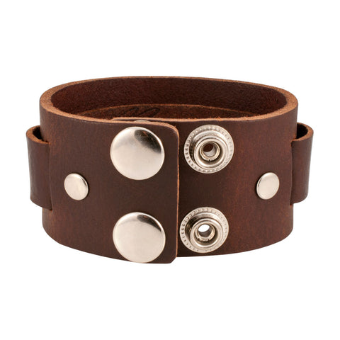 Distressed Brown Vintage ITALIAN Leather Bracelet Unisex 1BR