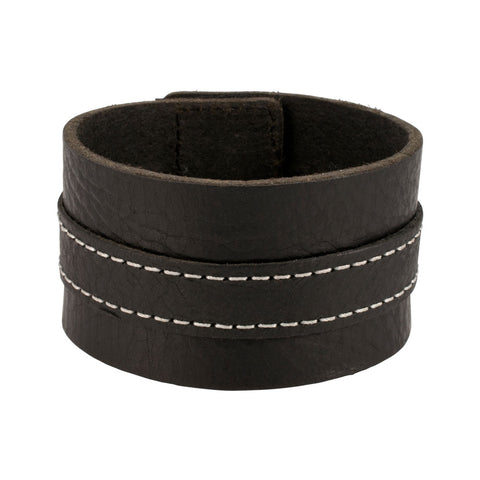 Distressed Black Vintage ITALIAN Leather Bracelet Unisex 2BL