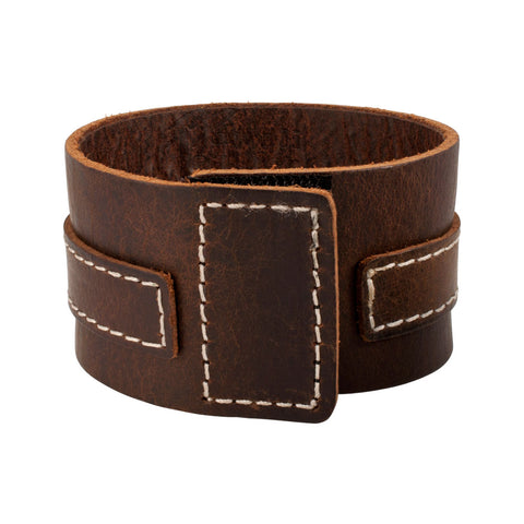 Distressed Brown Vintage ITALIAN Leather Bracelet Unisex 2BR