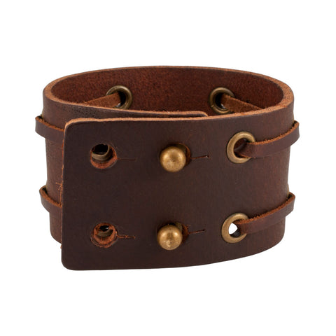 Distressed Brown Vintage ITALIAN Leather Cuff Bracelet Unisex 7BR