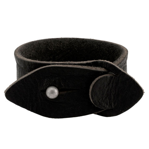 "Black Distressed Leather Slit Closure 12"" Bracelet Unique Cuff Napoli Strap New - Piercing Pros"