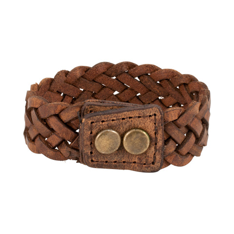 "Brown Braided Wide PU Leather Double Snap 7"" Bracelet Wristband Unique Cuff - Piercing Pros"