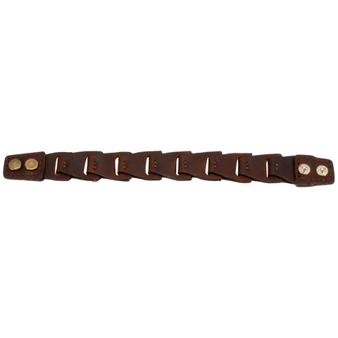 "Brown Smooth Leather Link Double Snap 8"" Bracelet Unique Cuff Bangle Braided - Piercing Pros"