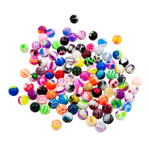 14g | 4mm  Threaded Balls for Piercing Jewelry - Mixed Acrylic Designs - 100 pcs - Piercing Pros