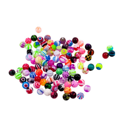 16g | 3mm  Threaded Balls for Piercing Jewelry - Mixed Acrylic Designs - 100 pcs - Piercing Pros