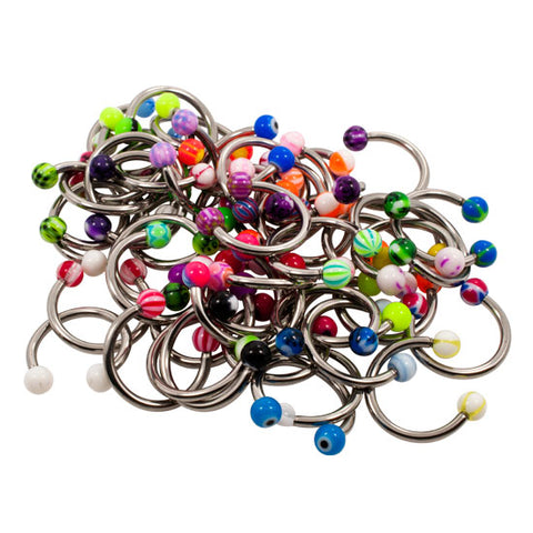 MIXED LOT 100 14g Circular Barbell Belly Body Jewelry