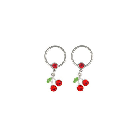 CHERRY Nipple Ring Pair Body Jewelry Cherries CBR Rings
