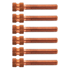 "Lot of 6 1 1/4"" Double Knurled USA 8-32 Copper Contact Screw Tattoo Custom Part"